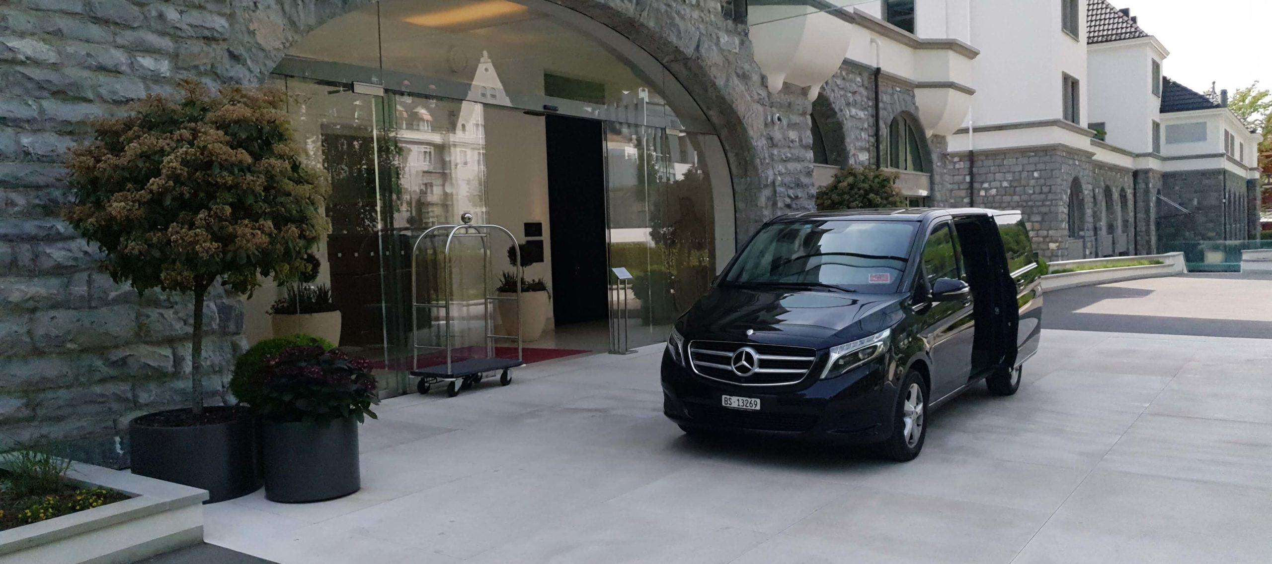 traserbas van in front of zurich hotel ready for private van service in zurich