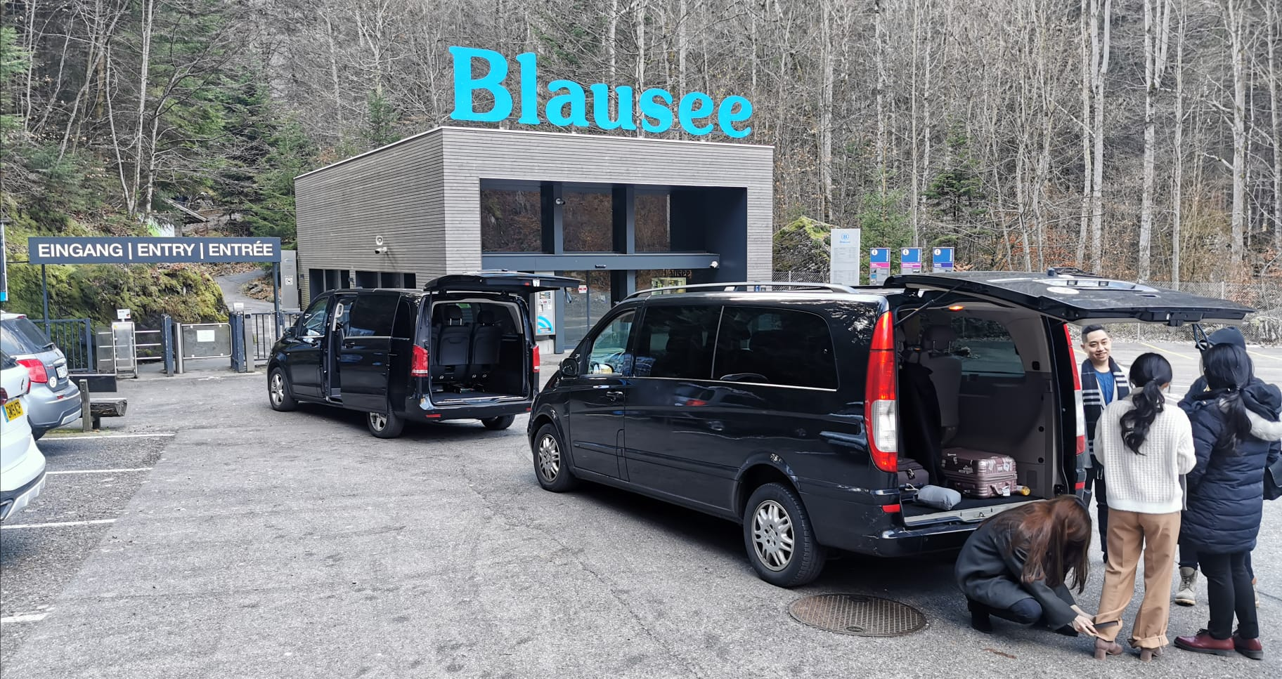 corporate executive cars in black ready for basel airport transfer