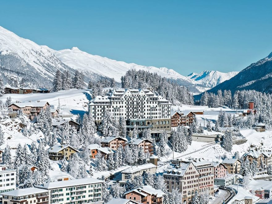 st moritz hotels from above covered with snow
