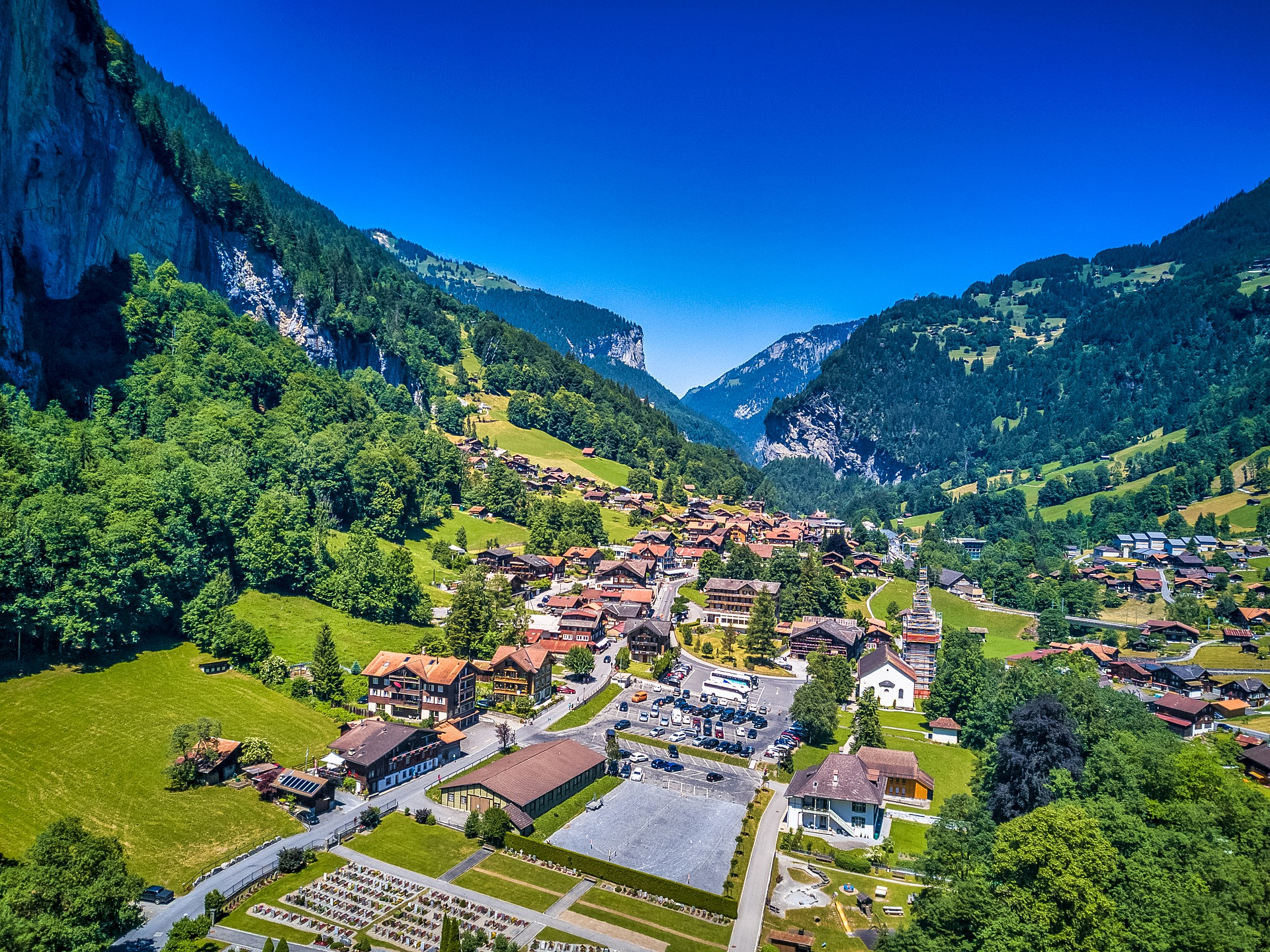 view on lauterbrunnen from the mountins